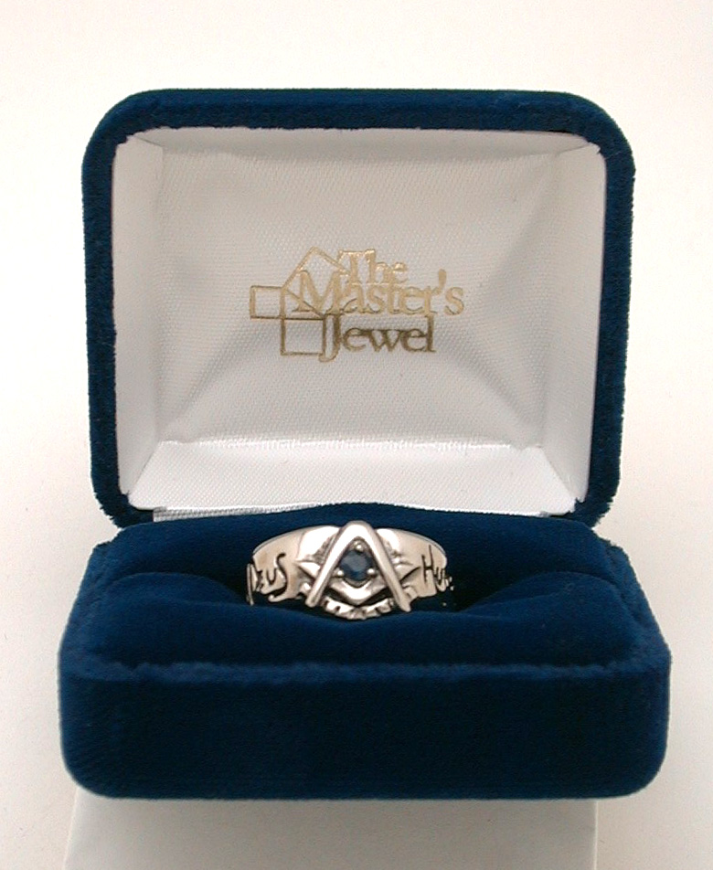 Brotherhood Past Master Ring with Sapphire