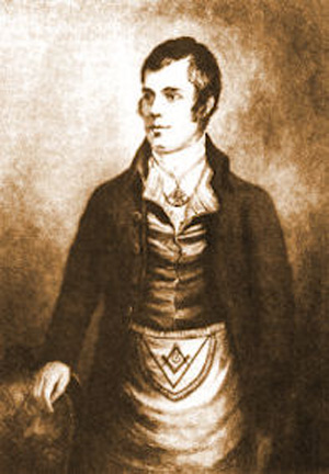 Robert Burns' Portrait with Masonic Jewel
