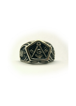the square and compass mortality masonic ring in platinum