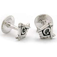 The Silver Square and Compass Cufflink Set