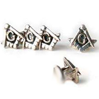 The Silver Square and Compass Shirt Stud Set
