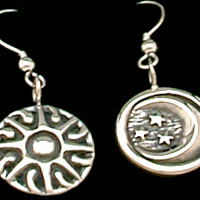 Sun and Moon Earrings Sterling Silver